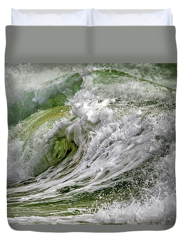 Dark Duvet Cover featuring the photograph Emerald Storm by Stelios Kleanthous