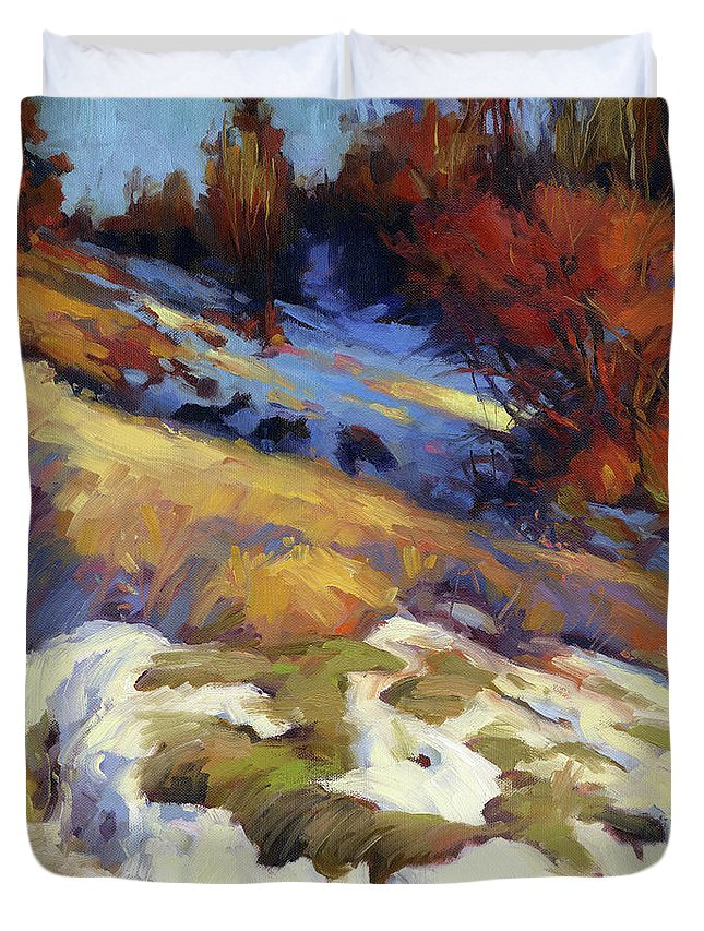 Landscape Duvet Cover featuring the painting Emergence by Steve Henderson
