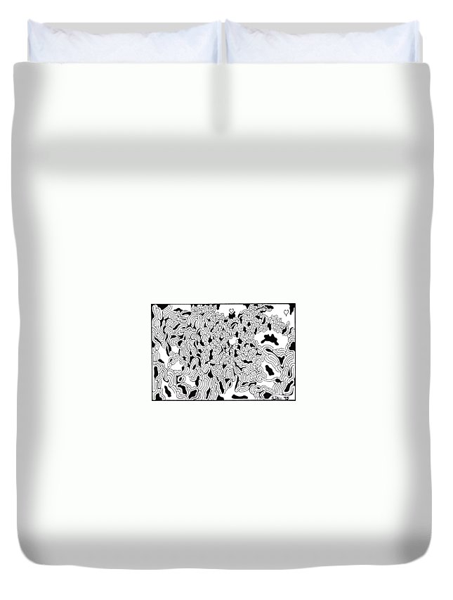 Mazes Duvet Cover featuring the drawing Emergence by Steven Natanson