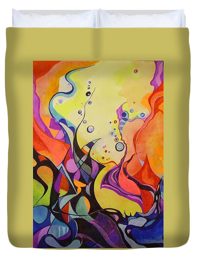 Watercolors Pens Paper Abstract Duvet Cover featuring the painting Emergence by Wolfgang Schweizer