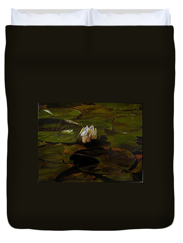 Lily Pad Duvet Cover featuring the painting Emerging One by Thu Nguyen