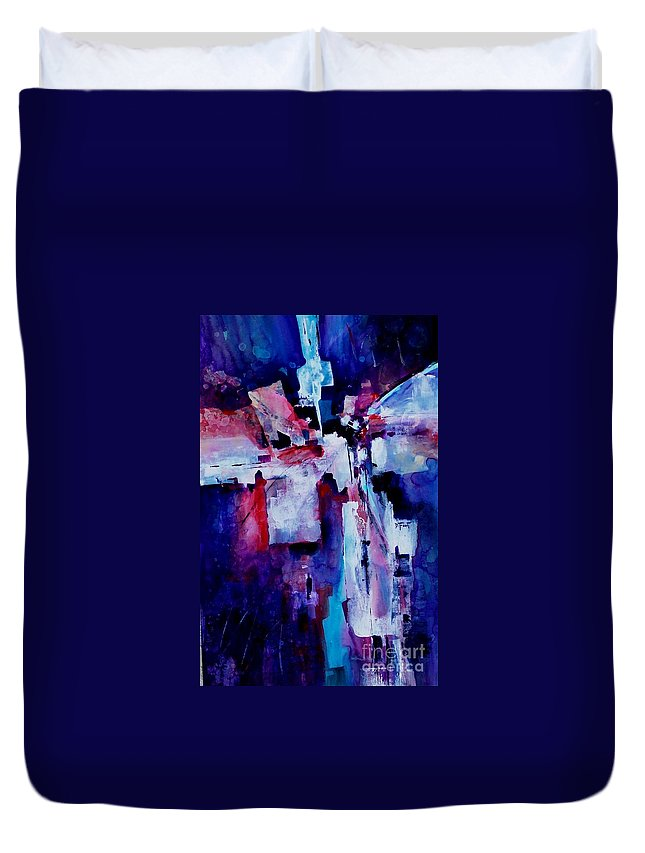 Abstract Expressionism Duvet Cover featuring the painting Emerging Spirit by Donna Frost