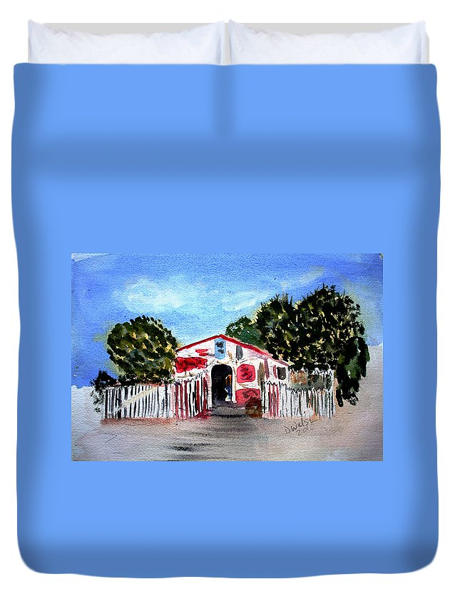 Tropical Duvet Cover featuring the painting Emiles Road Side Grocer by Donna Walsh