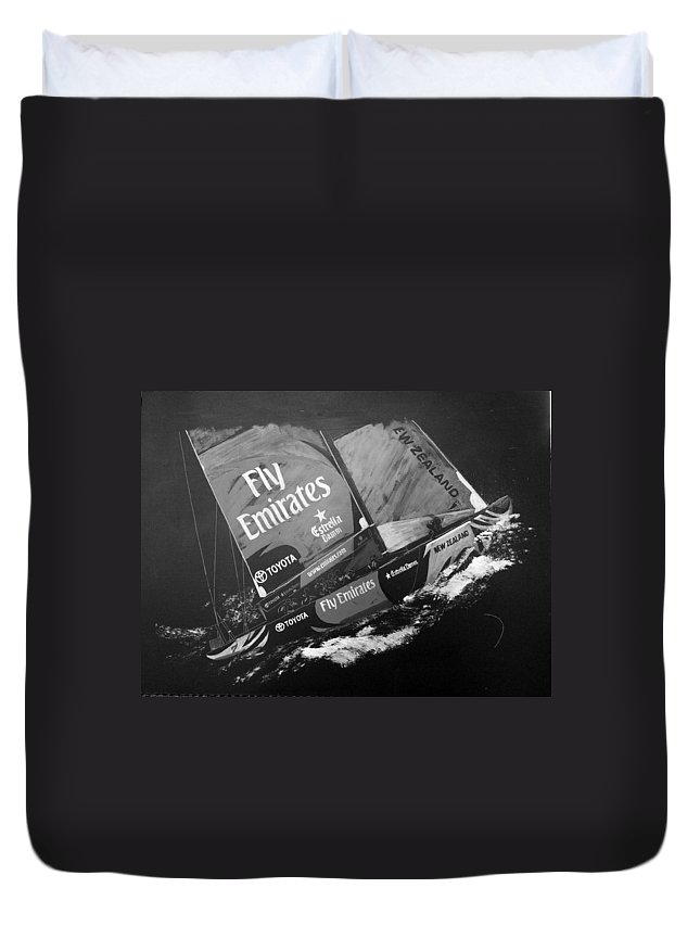 America's Cup Duvet Cover featuring the painting Emirates Team New Zealand by Richard Le Page