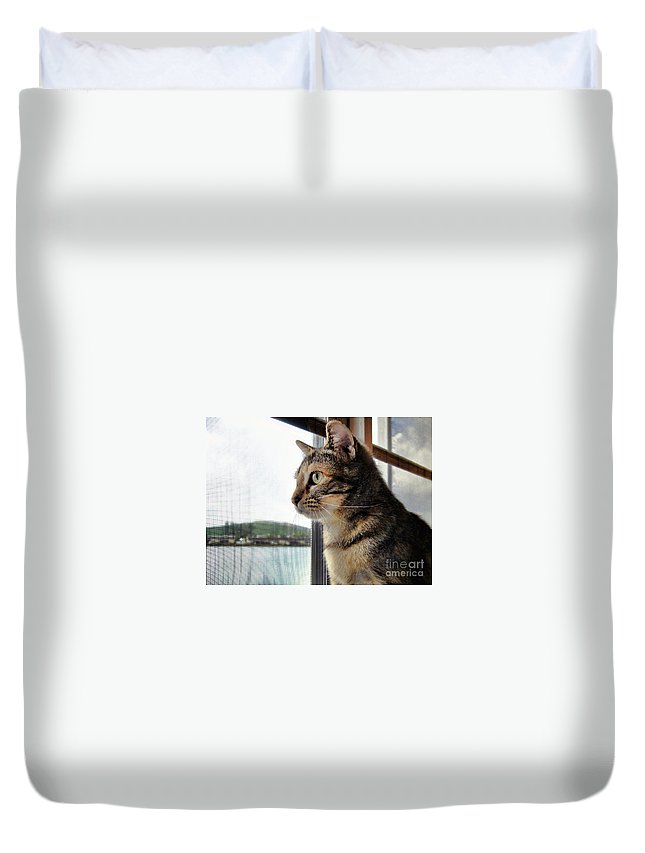 Cat Duvet Cover featuring the photograph Emma Again by Nora Martinez