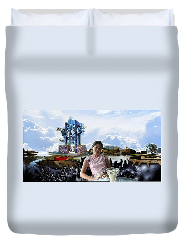 Spacem Maine Duvet Cover featuring the digital art Emma's Afternoon Snack by Dave Martsolf