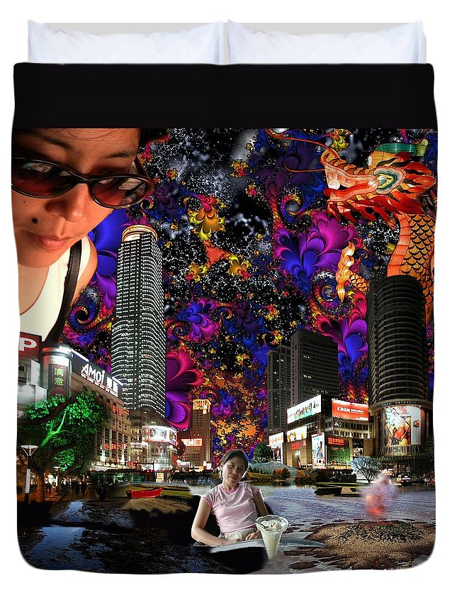 Surreal Duvet Cover featuring the photograph Emma's Sunglasses by Dave Martsolf