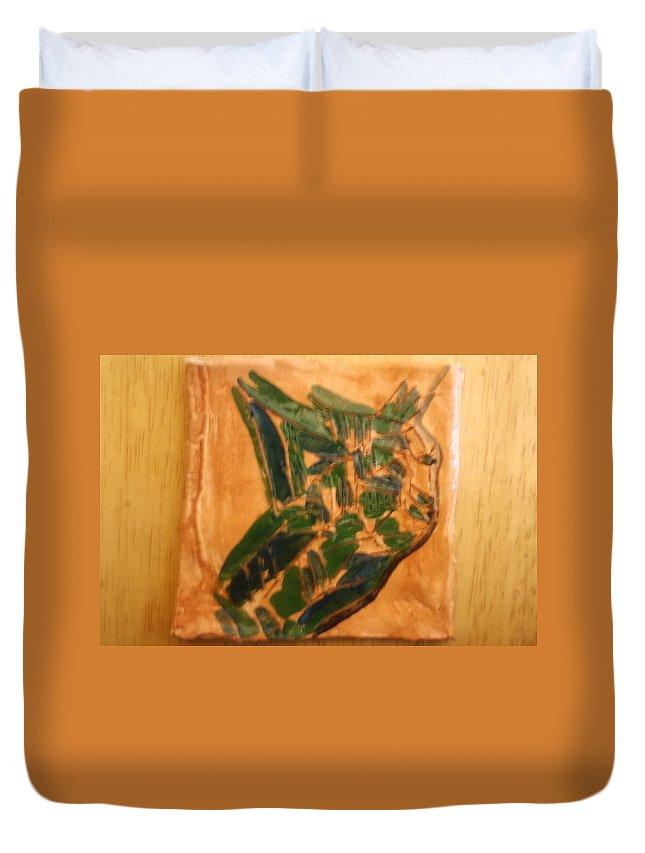Jesus Duvet Cover featuring the ceramic art Emmet - Tile by Gloria Ssali