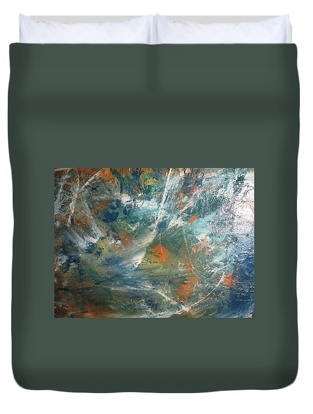 Non Duality Duvet Cover featuring the painting Emotional Deluge by Paula Andrea Pyle