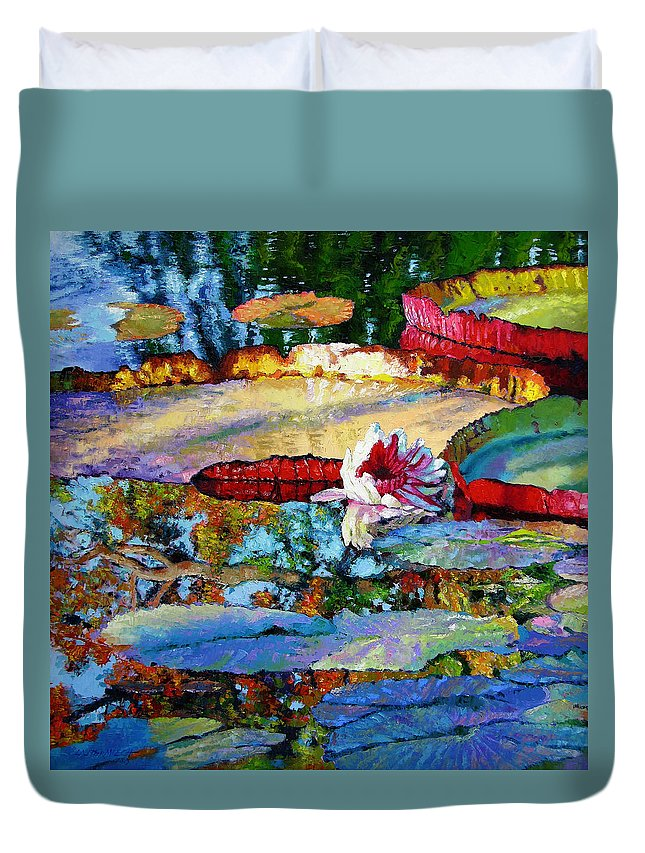 Garden Pond Duvet Cover featuring the painting Emotions Of Color Light And Texture by John Lautermilch