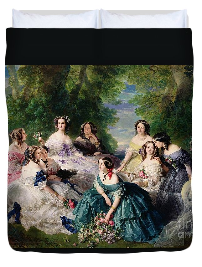 Empress Duvet Cover featuring the painting Empress Eugenie Surrounded By Her Ladies In Waiting by Franz Xaver Winterhalter