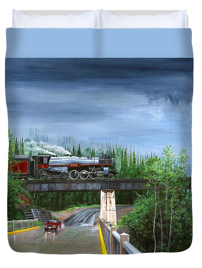 Bc 150 Train Duvet Cover featuring the painting Empress In Southern Bc by Glen Frear