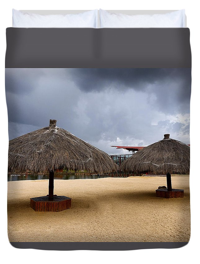 Beach Duvet Cover featuring the photograph Empty Beach Due To Incoming Storm by Thomas Baker