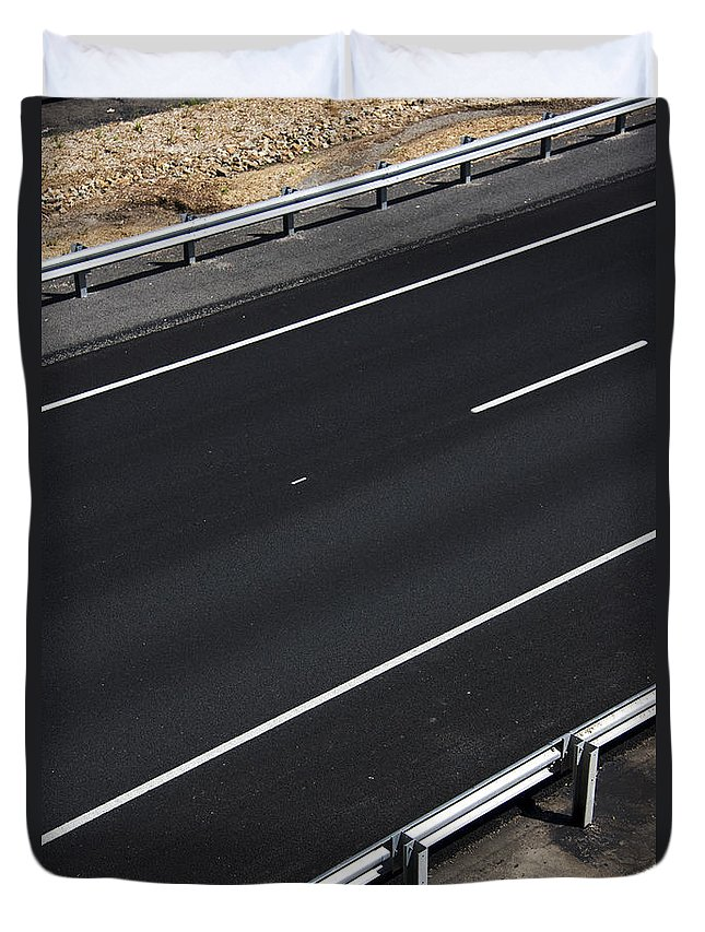 Asphalt Duvet Cover featuring the photograph Empty Highway by Jorgo Photography - Wall Art Gallery