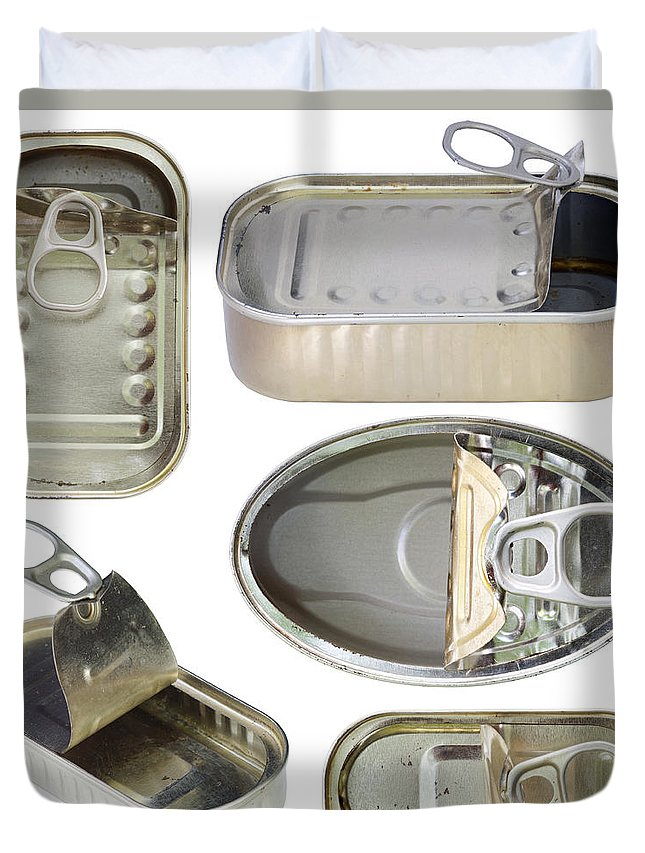 Isolated Duvet Cover featuring the photograph Empty Old Tin Cans by Michal Boubin