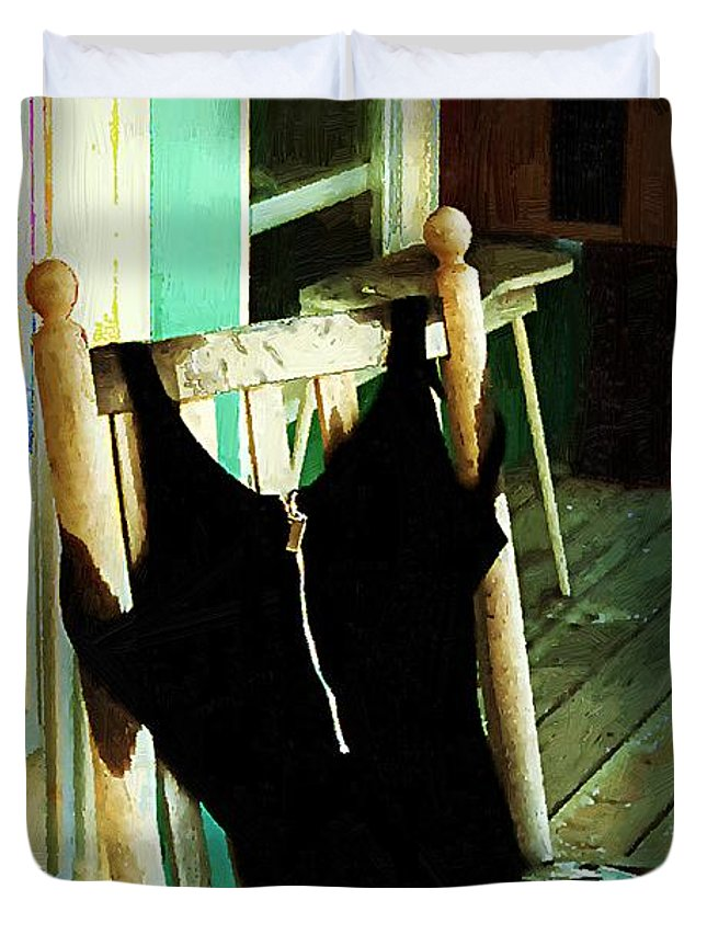 Bathing Suit Duvet Cover featuring the painting Empty Suit by RC DeWinter