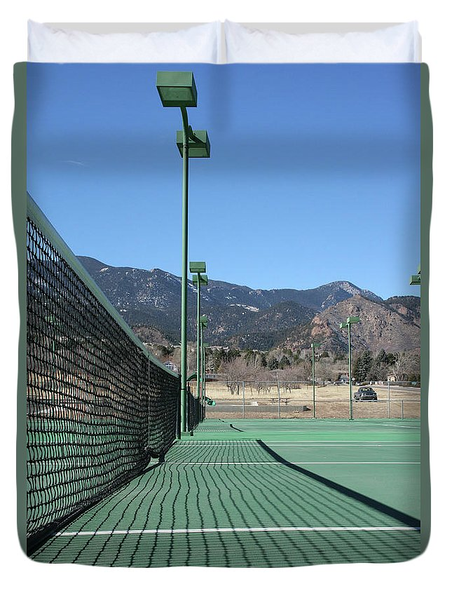 Empty Duvet Cover featuring the photograph Empty Tennis Courts by Ric Bascobert