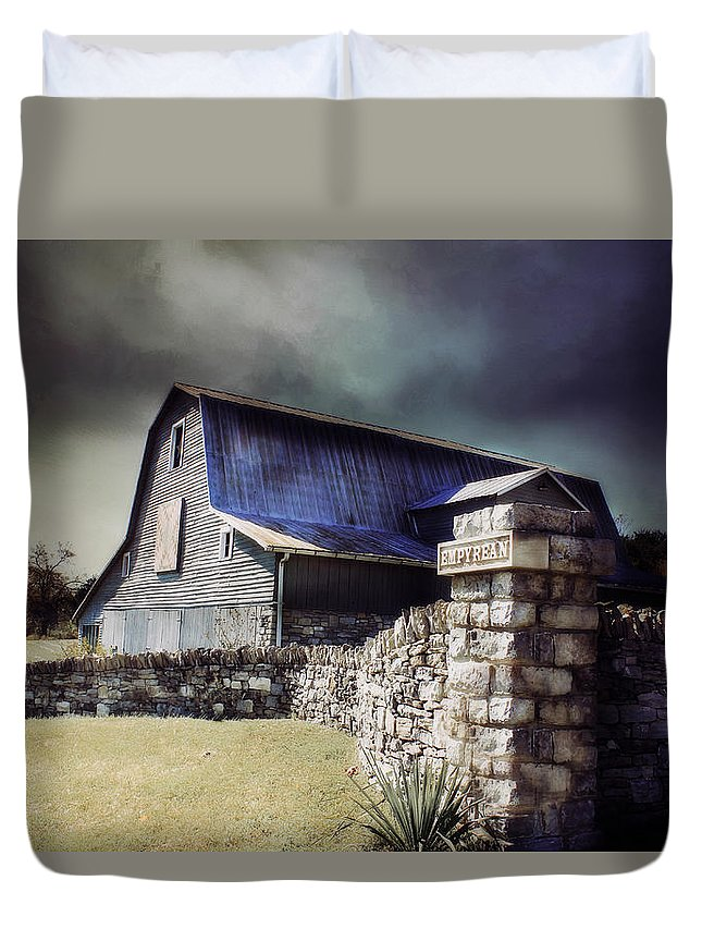 #barn Duvet Cover featuring the photograph Empyrean Estate Stone Wall by Julie Hamilton