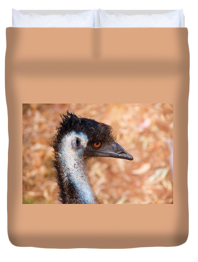 Emu Duvet Cover featuring the photograph Emu Profile by Mike Dawson