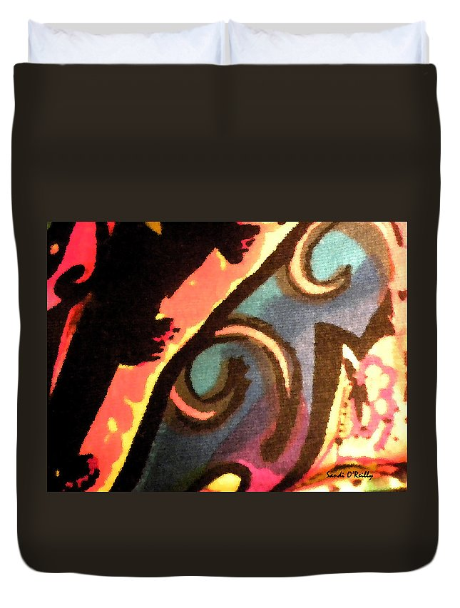 Abstract Duvet Cover featuring the mixed media En Joy Ll by Sandi OReilly