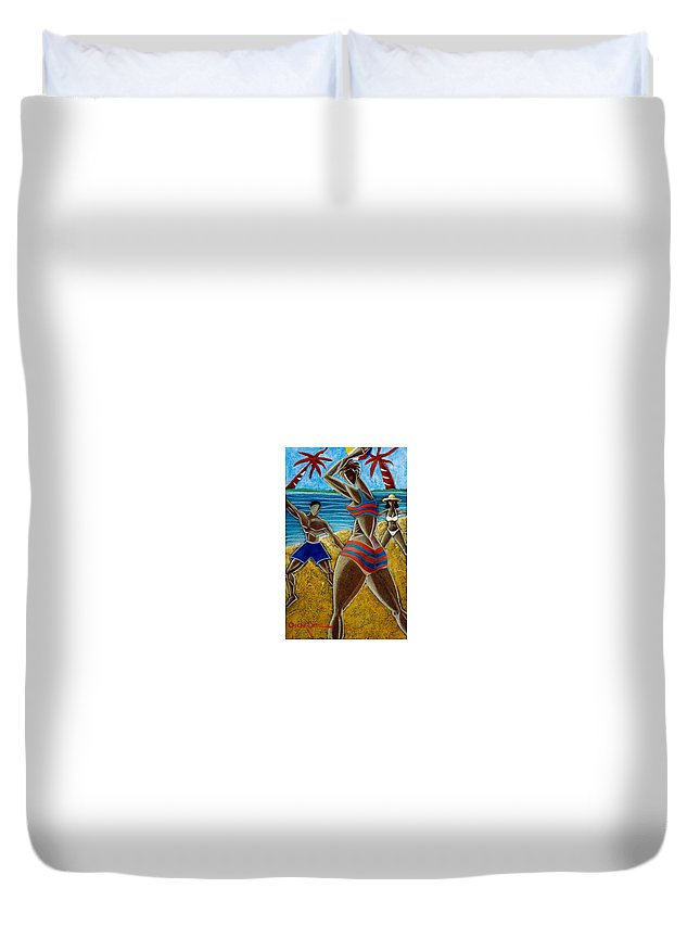 Beach Duvet Cover featuring the painting En Luquillo Se Goza by Oscar Ortiz