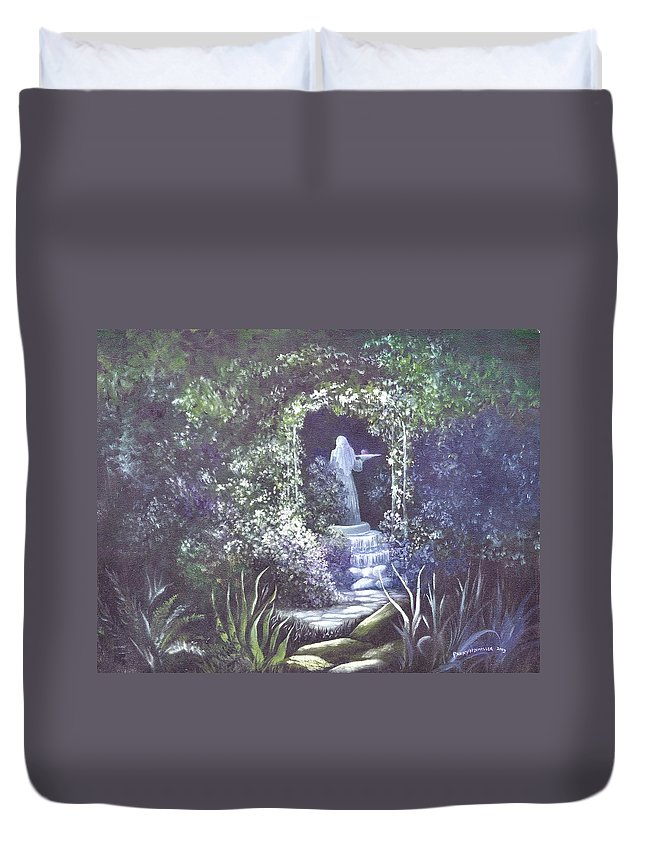 Arbor Duvet Cover featuring the painting enchanced Temptation Coming by Penny Neimiller