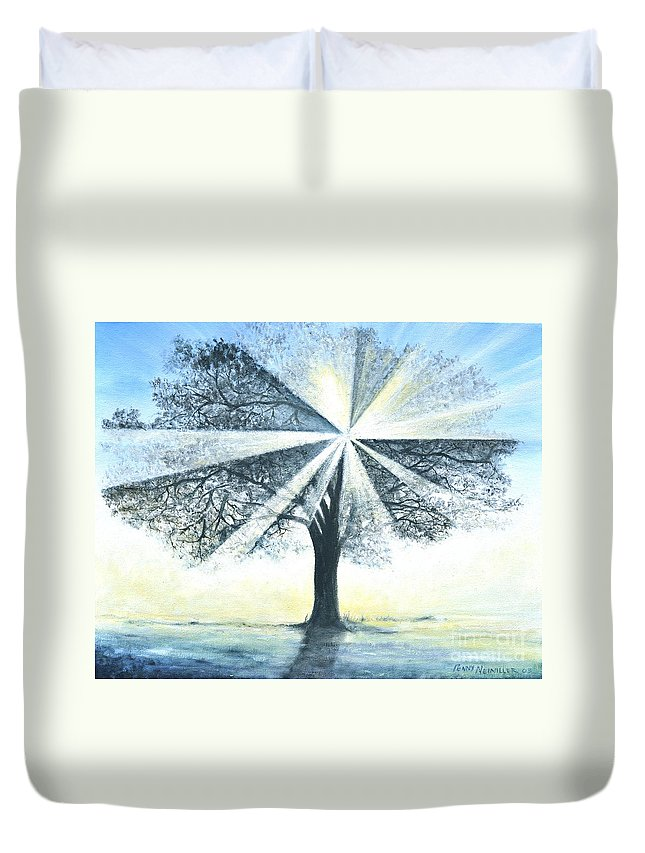 Bright Sun Paintings Duvet Cover featuring the painting enchanced Tree Light by Penny Neimiller