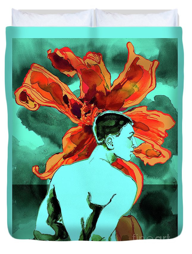Male Nude Duvet Cover featuring the digital art Enchanted Boy With Lilies by Richard Vyse