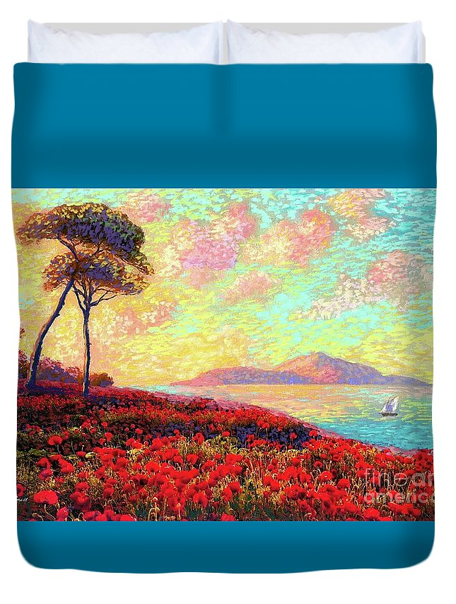 Wildflower Duvet Cover featuring the painting Enchanted By Poppies by Jane Small