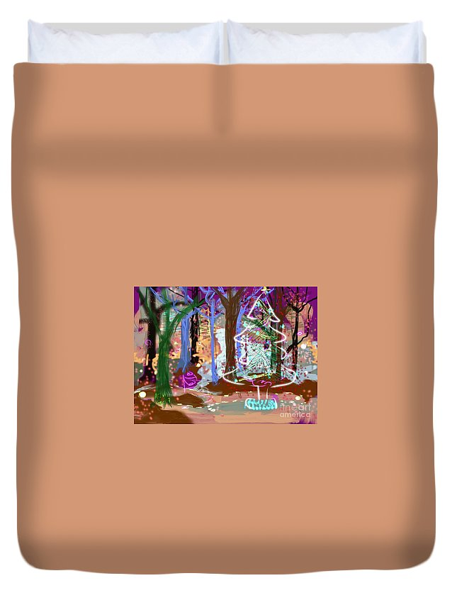 #holiday Scene #christmas Tree #enchanted Forest #digital Painting Duvet Cover featuring the digital art Enchanted Christmas Forest by Mary Jane Mulholland