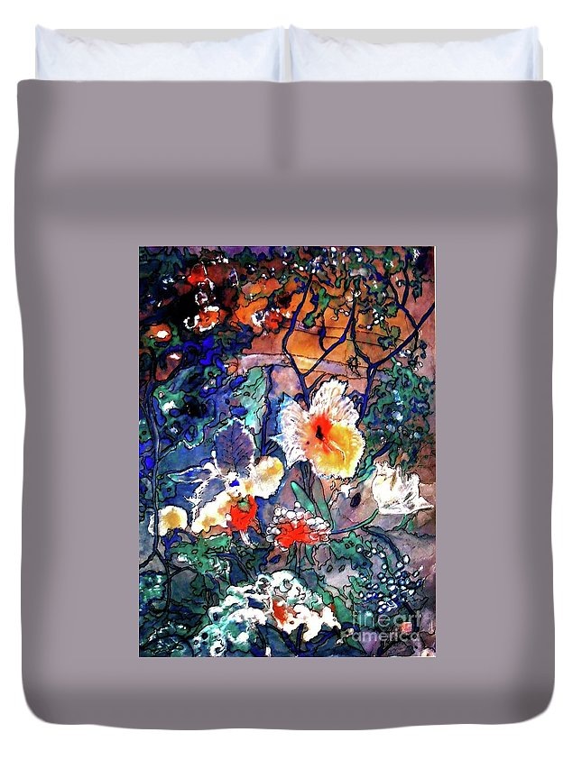 Landscape Duvet Cover featuring the painting Enchanted Garden by Norma Boeckler