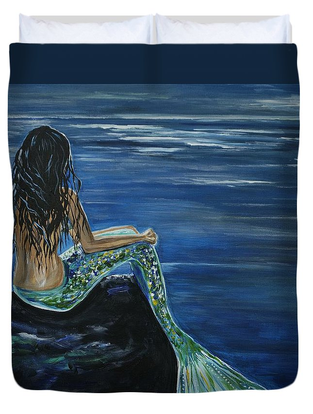 Mermaid Duvet Cover featuring the painting Enchanted Mermaid by Leslie Allen
