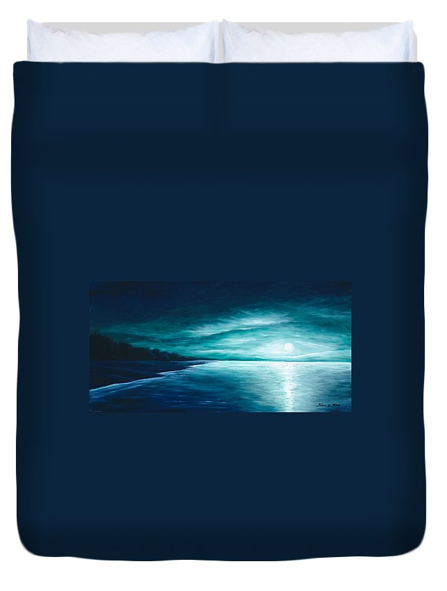 Moonscape Duvet Cover featuring the painting Enchanted Moon I by James Christopher Hill