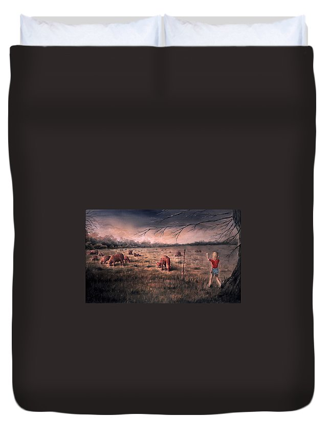 Landscape Duvet Cover featuring the painting A Childhood by Rachel Christine Nowicki