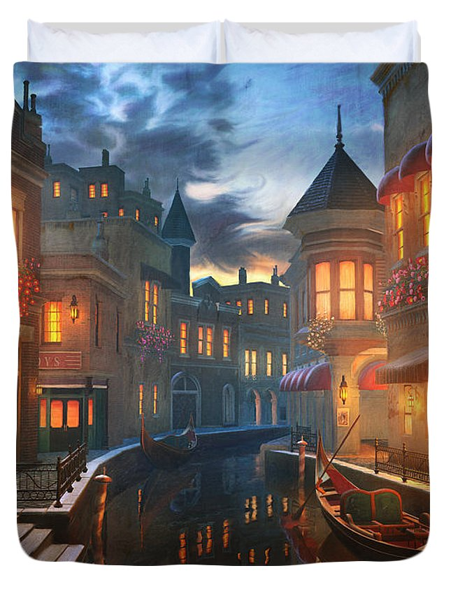 Venice Duvet Cover featuring the painting Enchanted Waters by Joel Payne