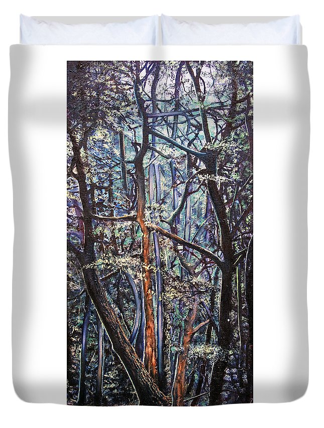 Trees Duvet Cover featuring the painting Enchanted Woods by Michel Angelo Rossi