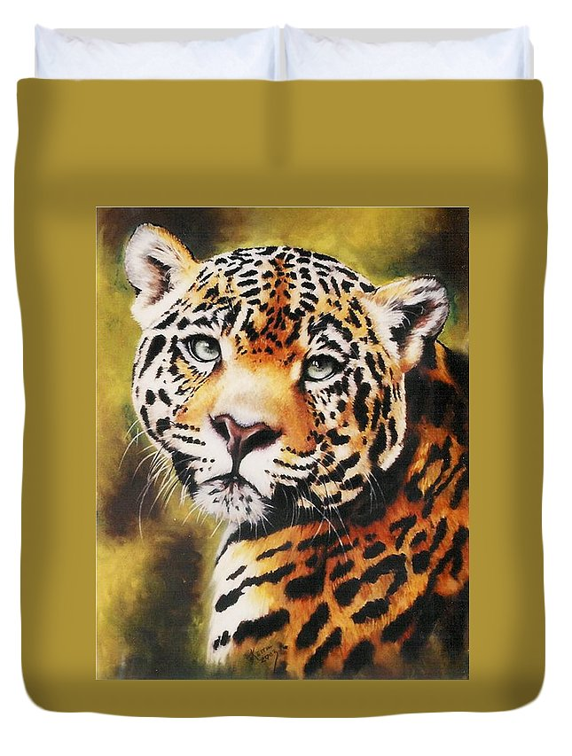 Jaguar Duvet Cover featuring the pastel Enchantress by Barbara Keith