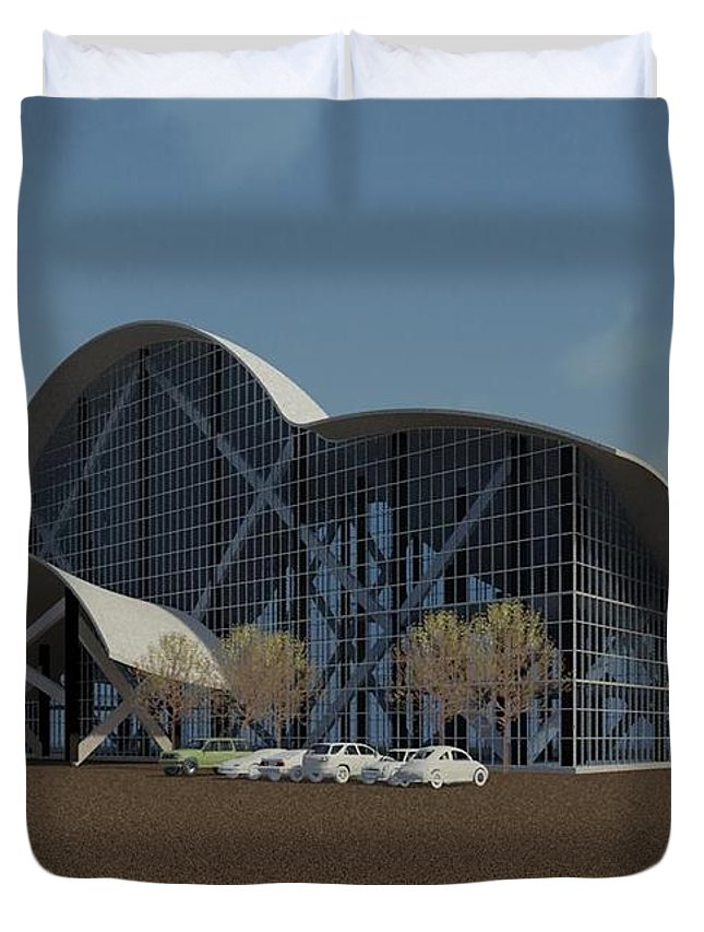 Building Rendering Duvet Cover featuring the digital art Enclosure by Ron Bissett