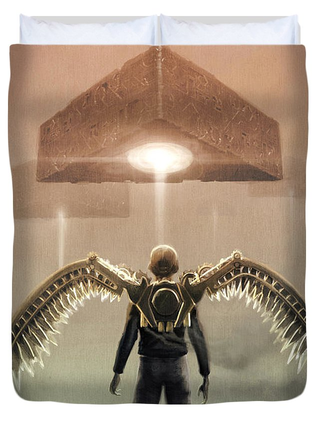 Sci Fi Duvet Cover featuring the digital art Encounter by Jamie Fox