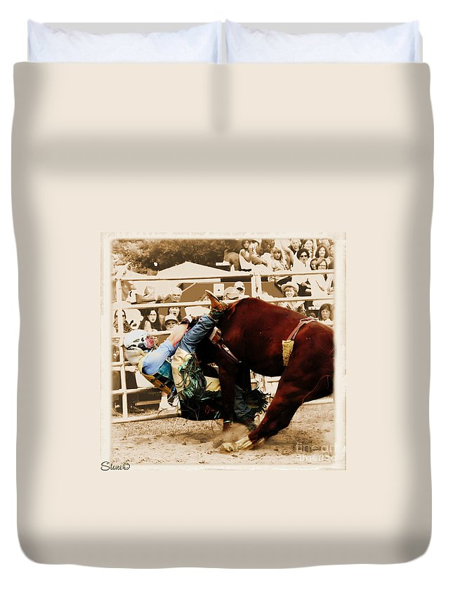 Sepia Duvet Cover featuring the photograph End Of A Helluva Ride by September Stone