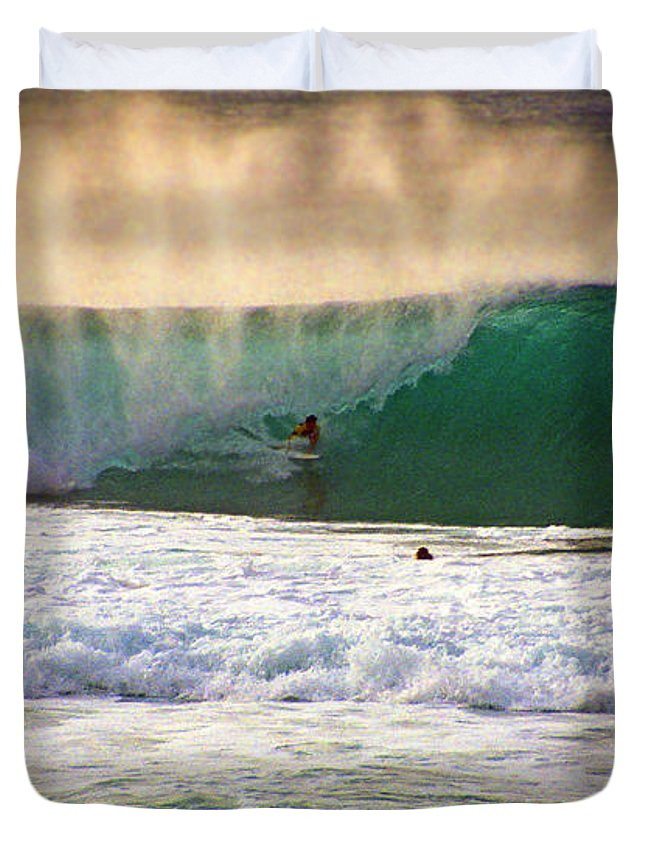 Pipeline Duvet Cover featuring the photograph End Of Light by Kevin Smith