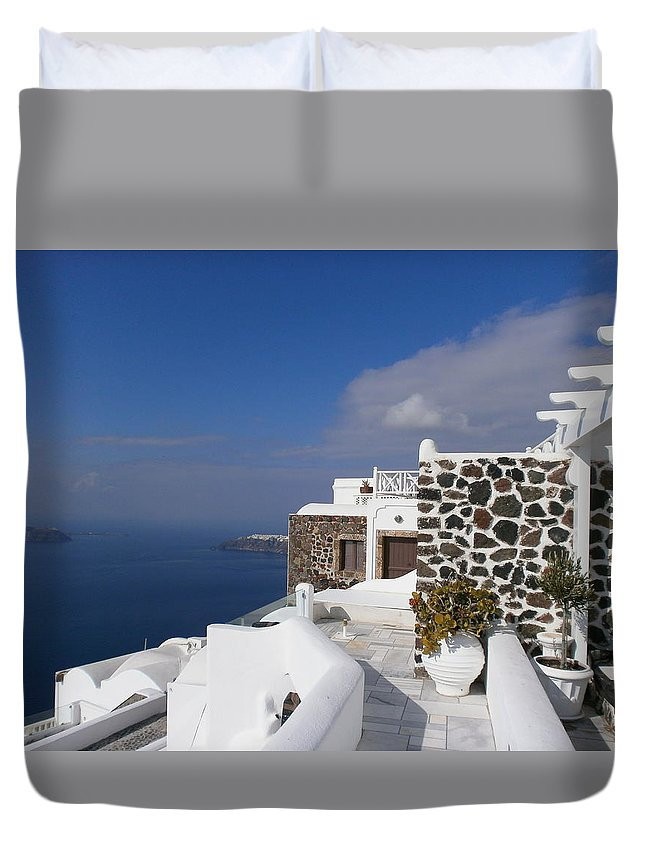 Seascape Duvet Cover featuring the photograph End Of Season by Maria Woithofer