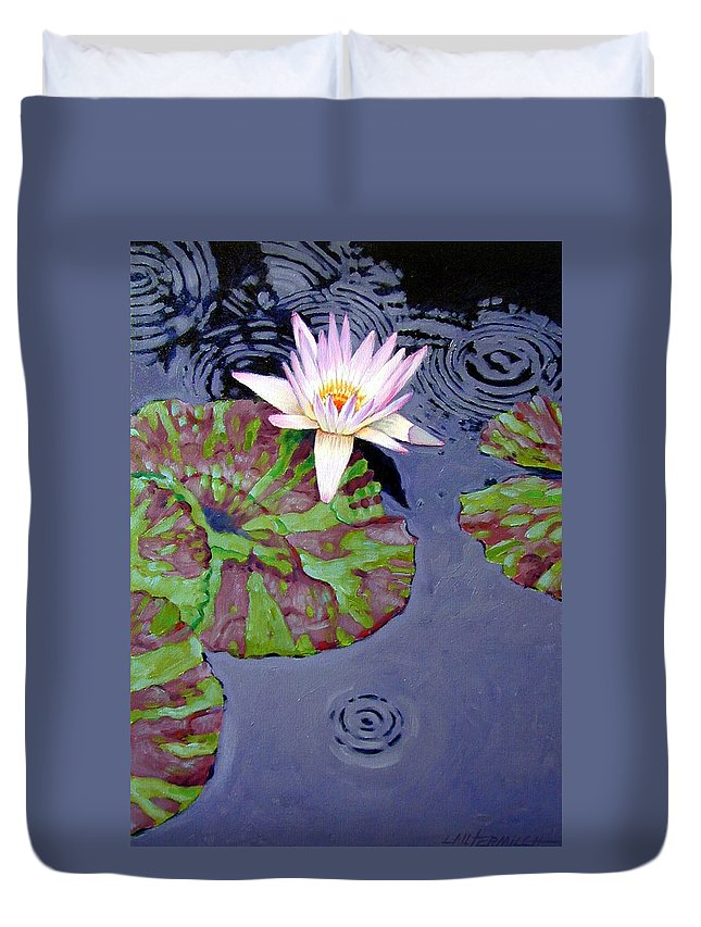 Water Lily Duvet Cover featuring the painting End Of Shower by John Lautermilch