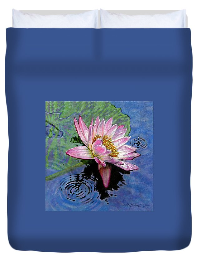 Water Lily Duvet Cover featuring the painting End Of Summer Shower by John Lautermilch