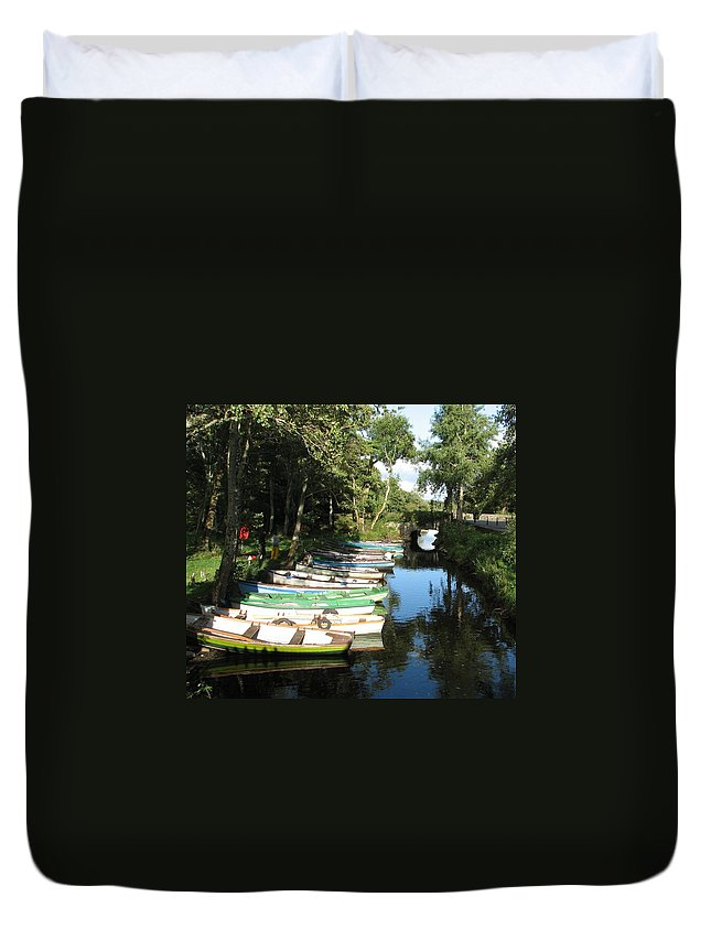 Boat Duvet Cover featuring the photograph End Of The Day by Kelly Mezzapelle
