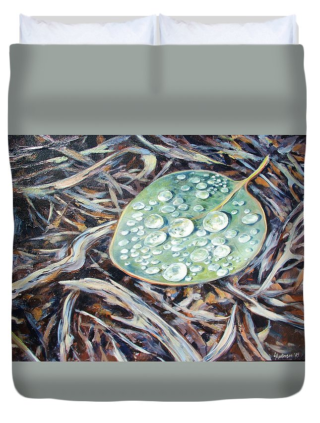Ekaterina Mortensen Duvet Cover featuring the painting End Of The Drought by Ekaterina Mortensen