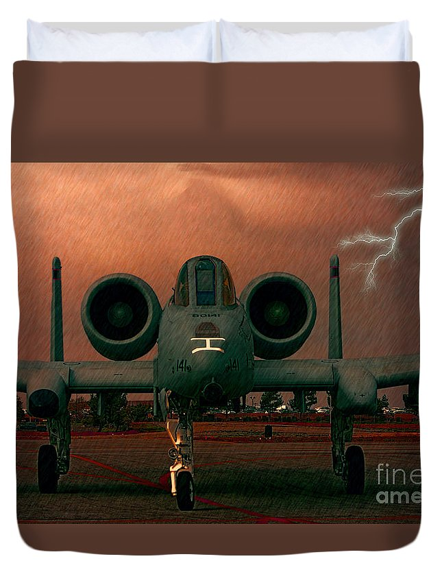 Republic A-10 Warthog Duvet Cover featuring the photograph End Of The Mission by Tommy Anderson