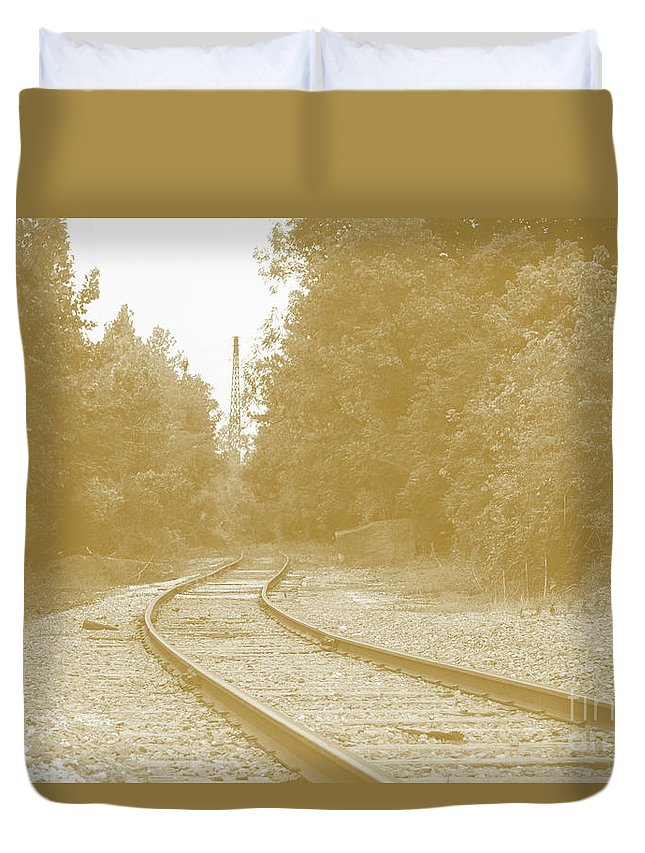 Rail Duvet Cover featuring the photograph End Of The Rail-sepia by Jost Houk