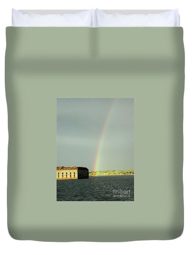 Rainbow Duvet Cover featuring the photograph End Of The Rainbow by Faith Harron Boudreau