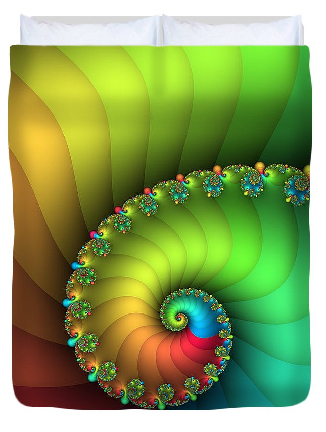 Fractal Duvet Cover featuring the digital art End Of The Rainbow by Jutta Maria Pusl